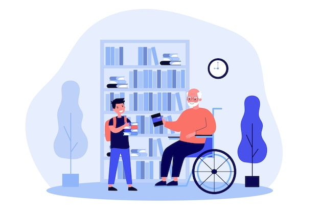 Grandpa in wheelchair and boy holding books Premium Vector