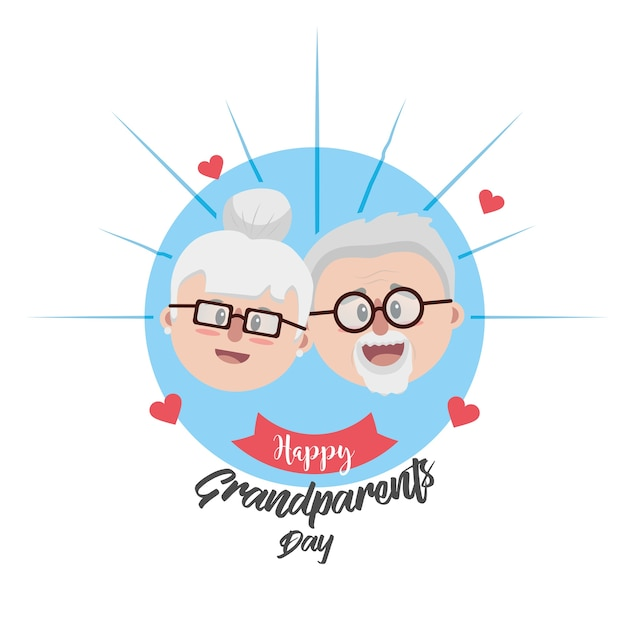 Grandparent face with glasses and hairstyle Premium Vector