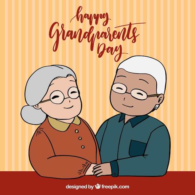 Grandparents background with happy\ couple