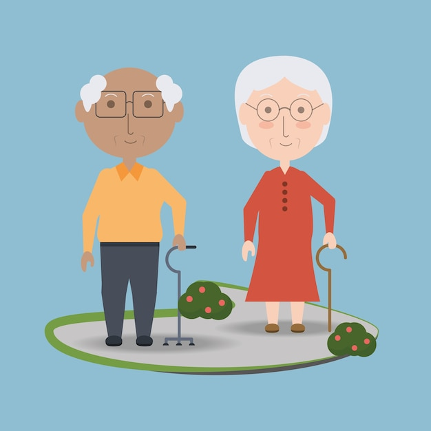 Grandparents cartoon Premium Vector