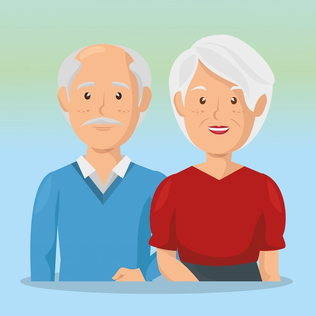 Grandparents couple avatars characters Free Vector