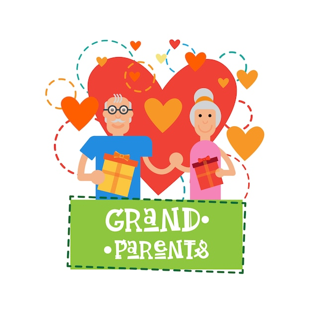 Grandparents couple together happy grandmother and grandfather day greeting card banner Premium Vector