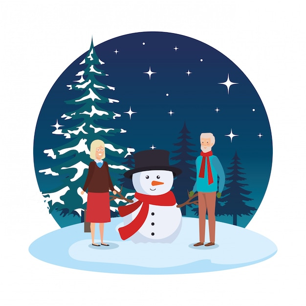 Grandparents couple with snowman in snowscape Premium Vector