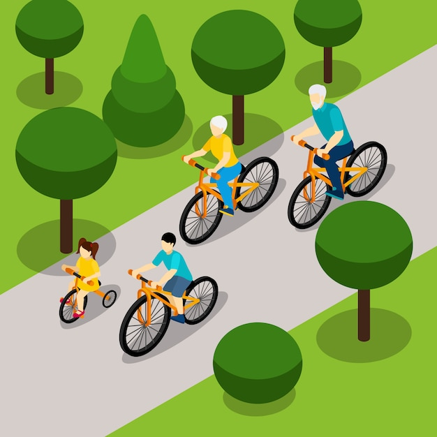 Grandparents cycling with children isometric banner Free Vector