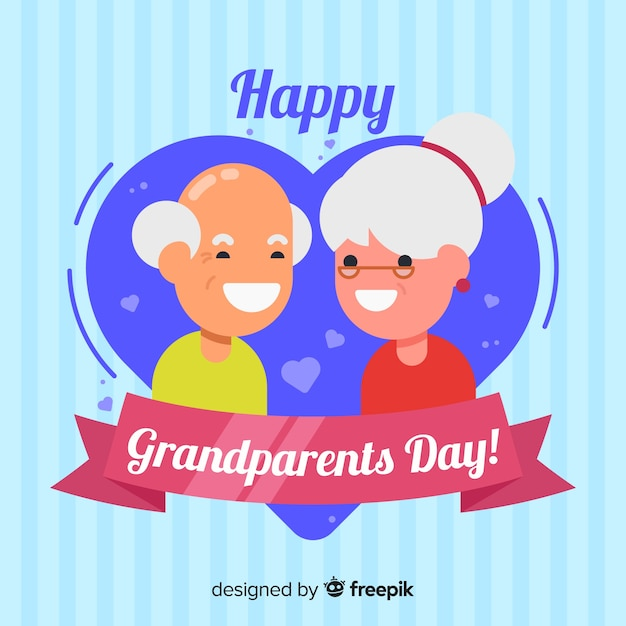 Grandparents day background in flat design Free Vector
