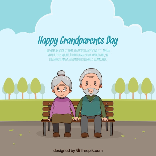 Grandparents day background with couple in the\ park