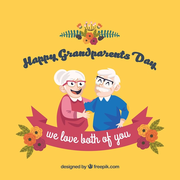 Grandparents day background with floral details