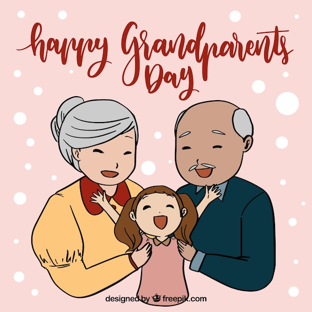 Grandparents day background with\ granddaughter