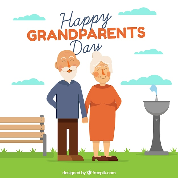 Grandparents day background with happy\ couple