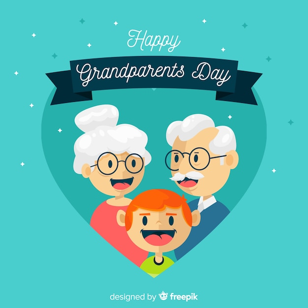 Grandparents day background with heart Free Vector