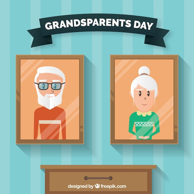 Grandparents day background with\ pictures