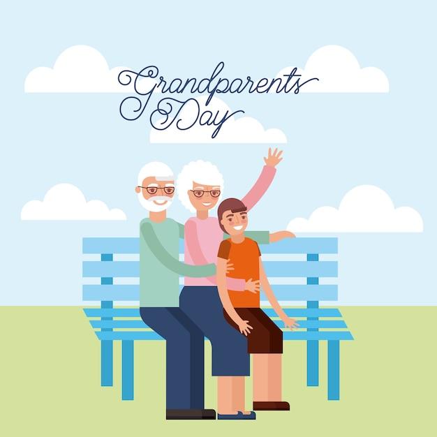 Grandparents day card Premium Vector