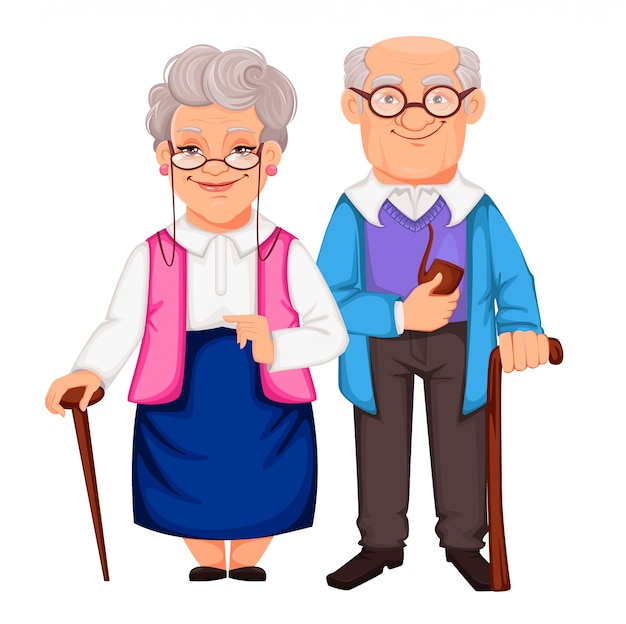 Grandparents day. grandfather and grandmother Premium Vector