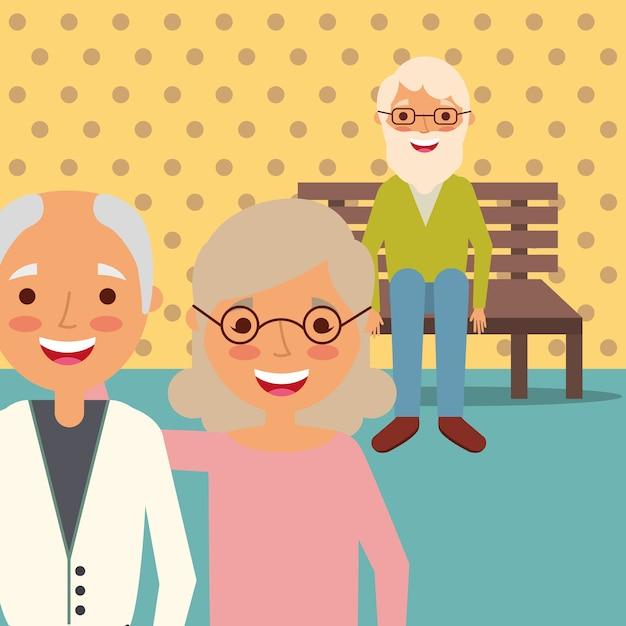 Grandparents day people Premium Vector