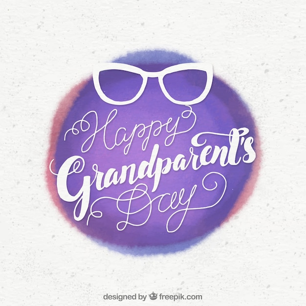 Grandparents day vintage watercolor background with glasses