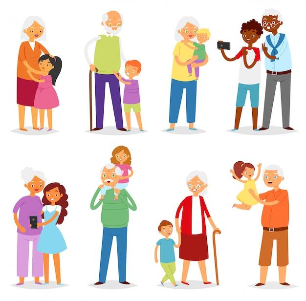 祖父母家族一緒に祖父や祖母の孫イラストセットの高齢者の祖母やおばあちゃんやおじいちゃんと子供の男の子や女の子の白い背景の上 Premiumベクター