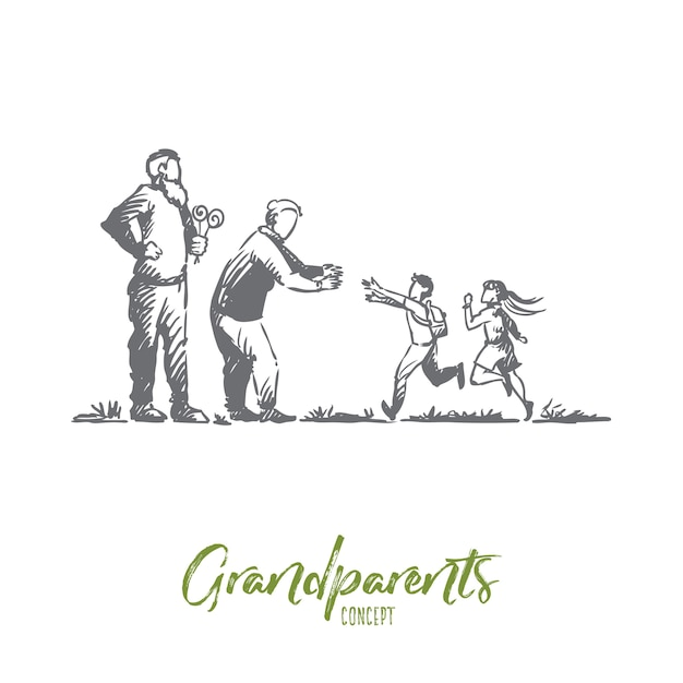 Grandparents, grandchildren, family, generation concept. hand drawn happy big family with grandmother and grandfather concept sketch. Premium Vector