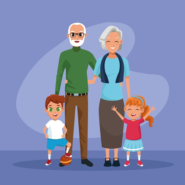 Grandparents and grandsons kids cartoons Free Vector