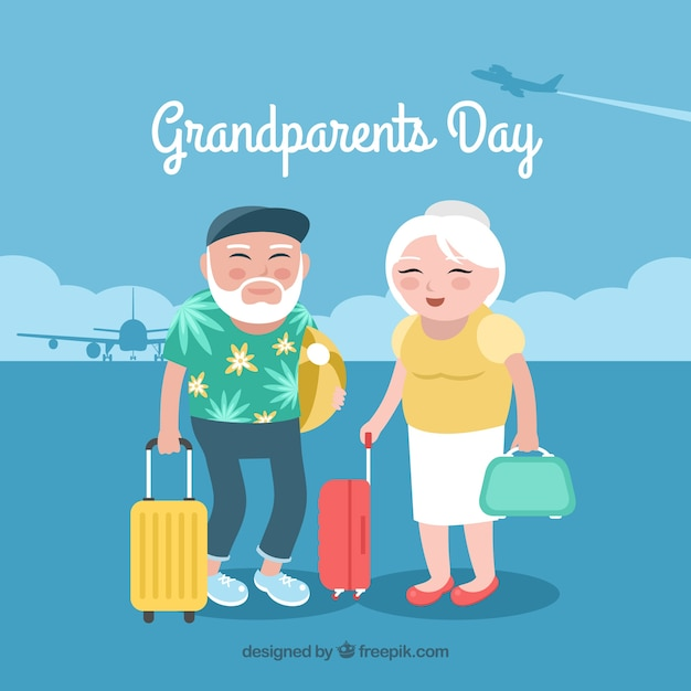 Grandparents on holiday background Free Vector