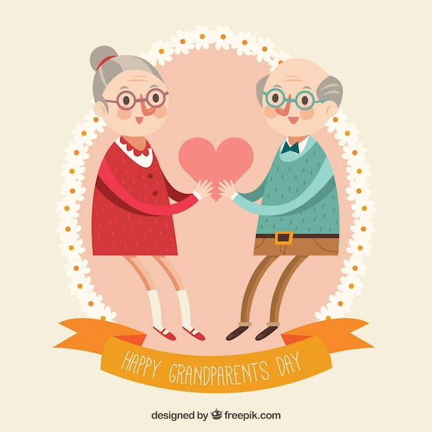grandparents in love with a heart in flat design