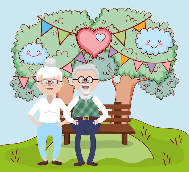 Grandparents love relationship cartoon Premium Vector