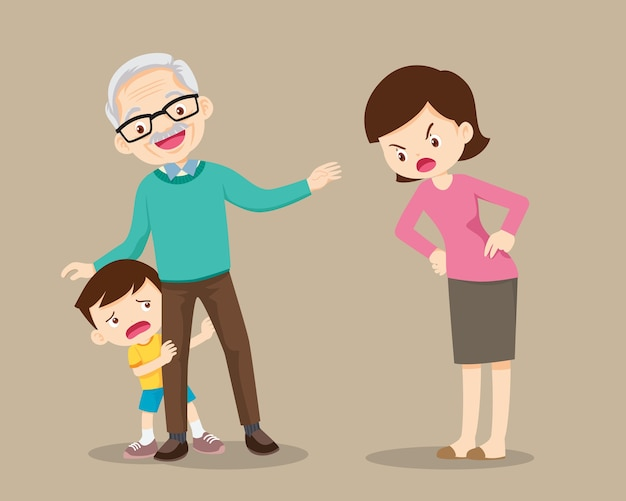 Grandparents soothe child from mother scolding. grandfather take care grandchildren from scolded by mother Premium Vector
