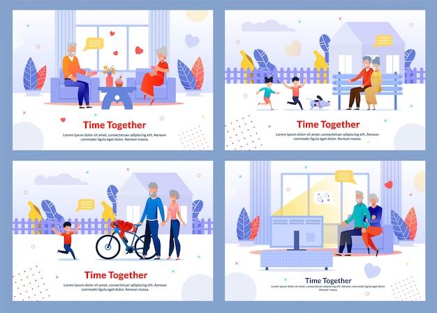 Бабушка и дедушка проводят время вместе с набором шаблонов для детей Premium векторы