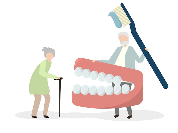 Grandparents with a dental kit Free Vector