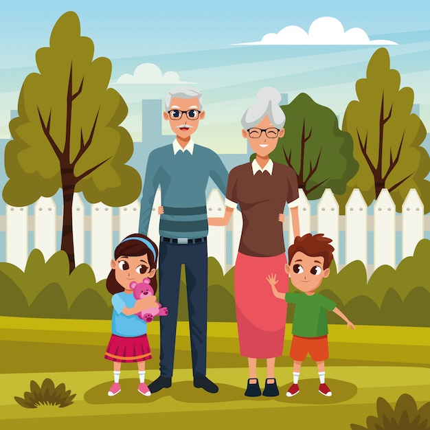 Grandparents with grandsons in park Free Vector