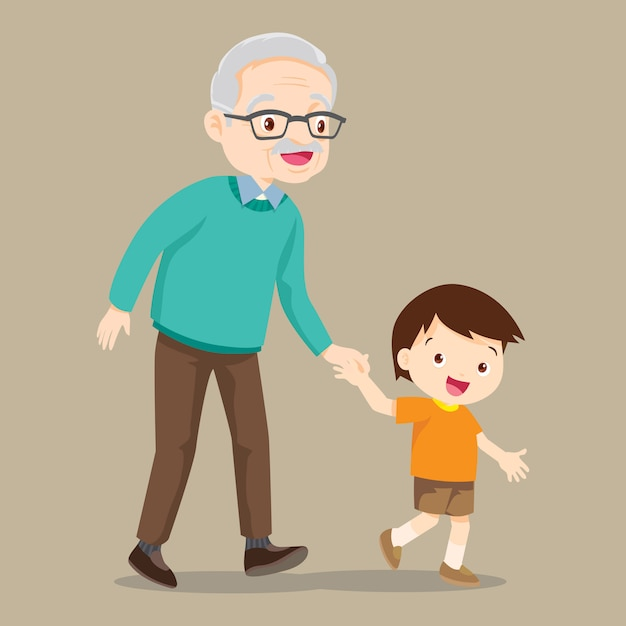 Grandson walking with his grandfather Premium Vector
