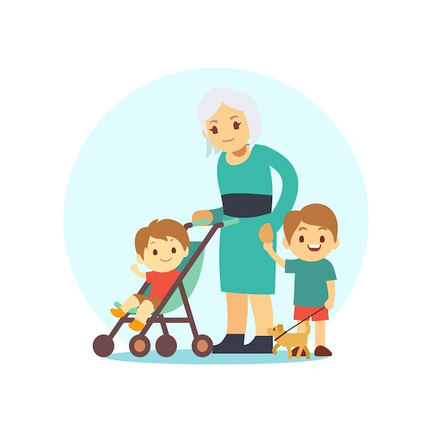 Grangma walking with grandsons and dog Premium Vector