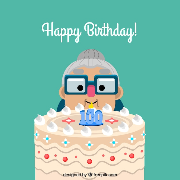 Granny background with cake and hundredth birthday candle Free Vector