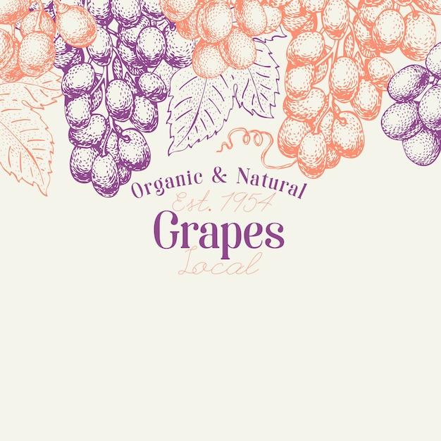 Grape berry design template. Premium Vector