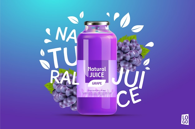 Grape juice ad with gradients and lettering Free Vector