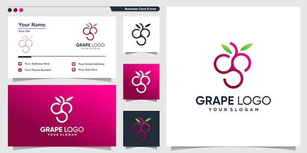 Grape logo with modern gradient outline style and business card Premium Vector