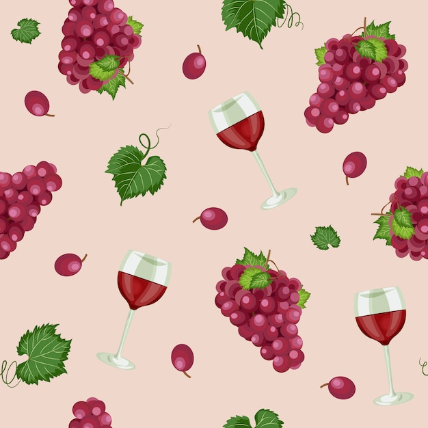 Grape seamless pattern with wine glasses Premium Vector