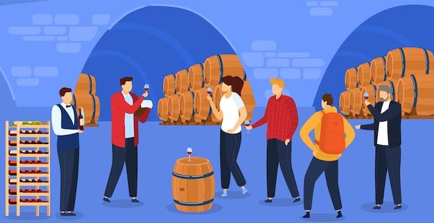 Иллюстрация дегустации виноградного вина. Premium векторы