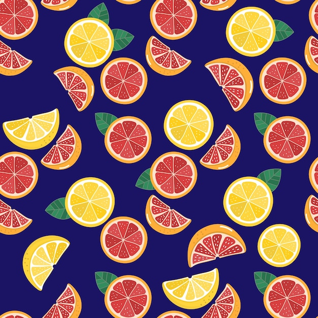 Грейпфрут и лимон бесшовные модели Premium векторы