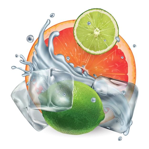 Грейпфрут и лайм с кубиками льда и плеск воды Premium векторы