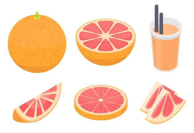 Grapefruit icons set, isometric style Premium Vector