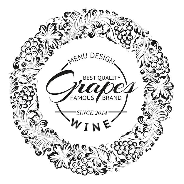 ブドウのリースまたはワインのエンブレムのフレームデザイン。 無料ベクター