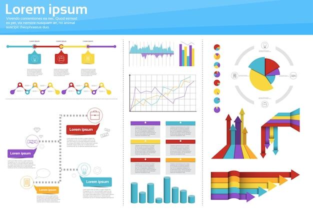 Graph set finance diagram infographic Premium Vector