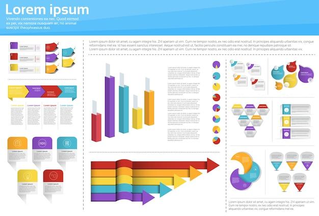 Graph set finance diagram Premium Vector