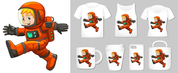 Graphic of astronaut on different product templates Free Vector