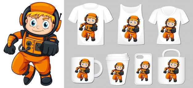 Graphic of astronaut different types of product template Free Vector