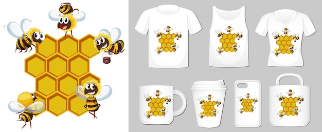 Graphic of bee and beehive on different product templates Free Vector