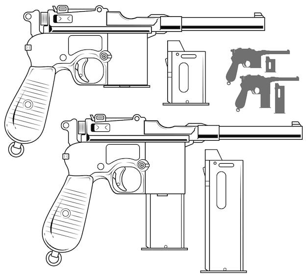 弾薬クリップとグラフィックの黒と白の古いピストル Premiumベクター