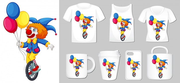 Graphic of clown on different types of product template Free Vector
