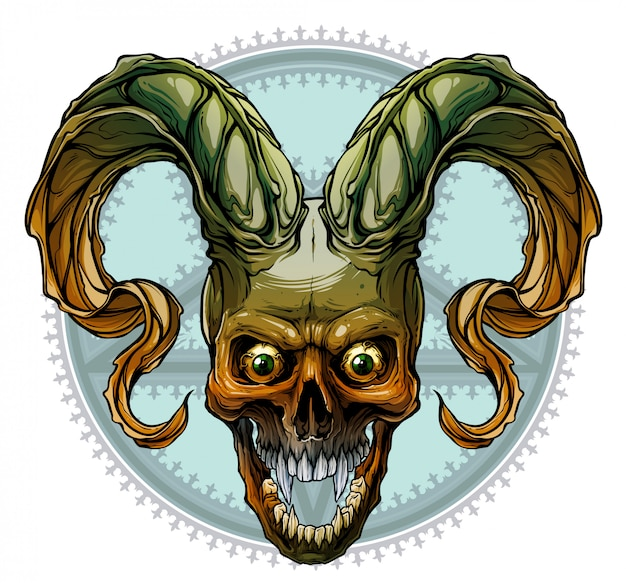 Graphic colorful human skull with deamon horns Premium Vector