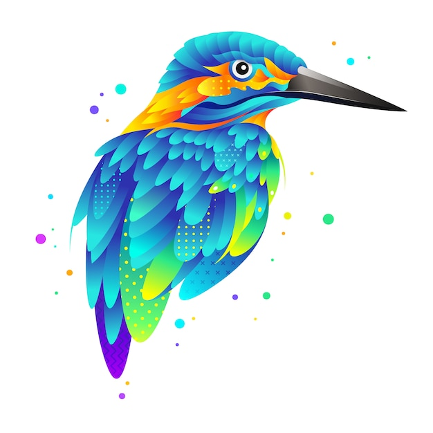 Graphic colorful kingfisher bird illustration Premium Vector